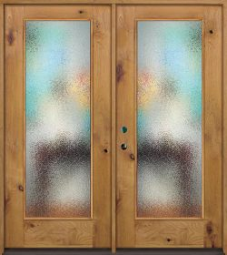 Privacy Glass Full Lite Knotty Alder Wood Double Door Unit