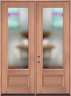 "8'0"" Tall Privacy Glass 3/4 Lite Mahogany Wood Double Door Unit"