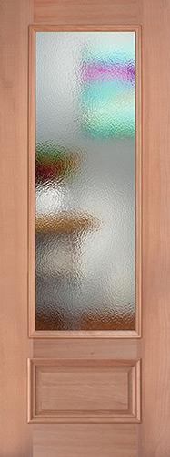 "8'0"" Tall Privacy Glass 3/4 Lite Mahogany Wood Door Slab"