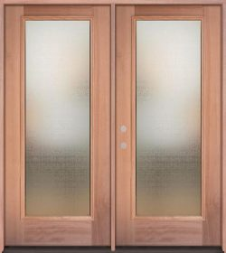Privacy Glass Full Lite Mahogany Wood Double Door Unit