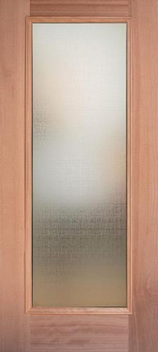 Privacy Glass Full Lite Mahogany Wood Door Slab