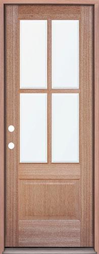 4-Lite 1-Panel Mahogany Prehung Wood Door Unit