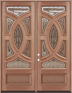 "8'0"" Tall Baseball Mahogany Prehung Double Wood Door Unit #A8025-22"