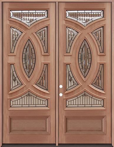 "8'0"" Tall Baseball Mahogany Prehung Double Wood Door Unit #A8025-22"