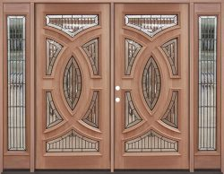 Baseball Mahogany Prehung Double Wood Door Unit with Sidelites #A8025-22