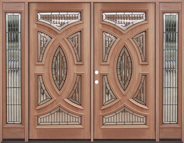 Baseball Mahogany Prehung Double Wood Door Unit with Sidelites #A8025-22