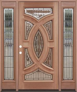 Baseball Mahogany Prehung Wood Door Unit with Sidelites #A8025-22