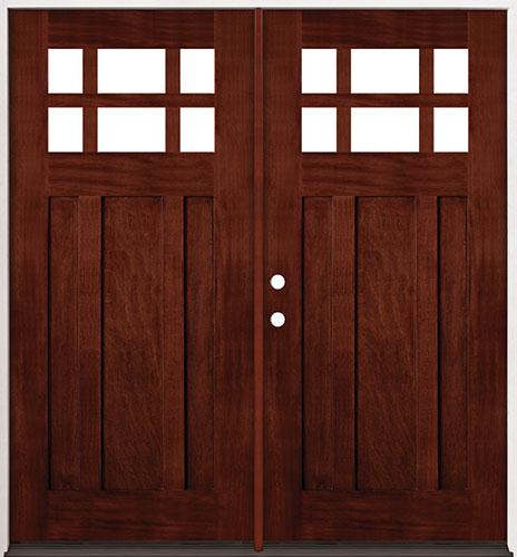 6-Lite Craftsman Mahogany Prehung Double Wood Door Unit #43