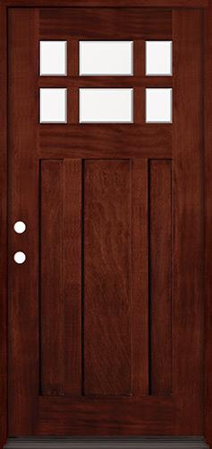 6-Lite Craftsman Mahogany Prehung Wood Door Unit #43
