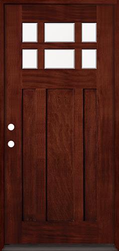 6-Lite Craftsman Mahogany Prehung Wood Door Unit #43