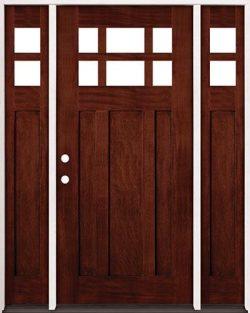 6-Lite Craftsman Mahogany Prehung Wood Door Unit with Sidelites #43