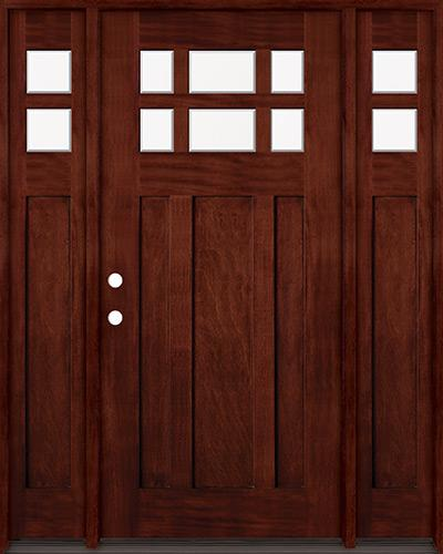 6-Lite Craftsman Mahogany Prehung Wood Door Unit with Sidelites #43 MJ