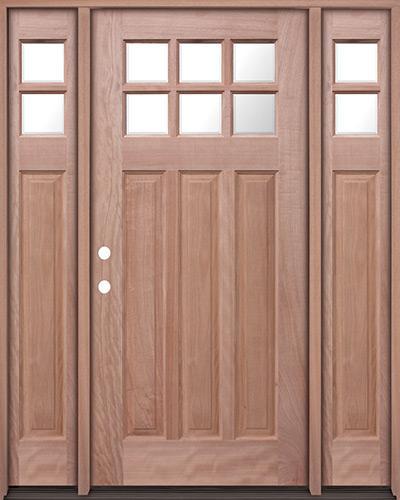 6-Lite Craftsman Mahogany Prehung Wood Door Unit with Sidelites #UM43