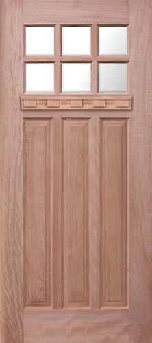 Craftsman 6-Lite Mahogany Wood Door Slab with Shelf #UM43DX