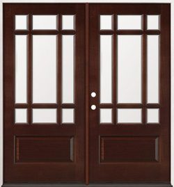 9-Lite Craftsman Mahogany Prehung Double Wood Door Unit #32