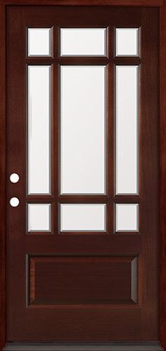 9-Lite Prairie Mahogany Prehung Wood Door Unit #32