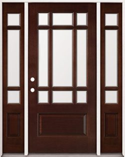 9-Lite Craftsman Mahogany Prehung Wood Door Unit with Sidelites #32