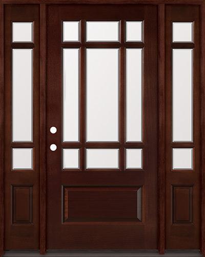 9-Lite Craftsman Mahogany Prehung Wood Door Unit with Sidelites #32MJ