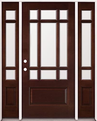 9-Lite Craftsman Mahogany Prehung Wood Door Unit with Sidelites #32