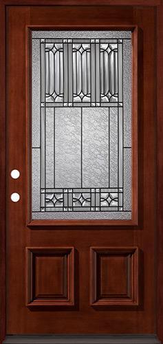 3/4 Lite Mahogany Prehung Wood Door Unit #53