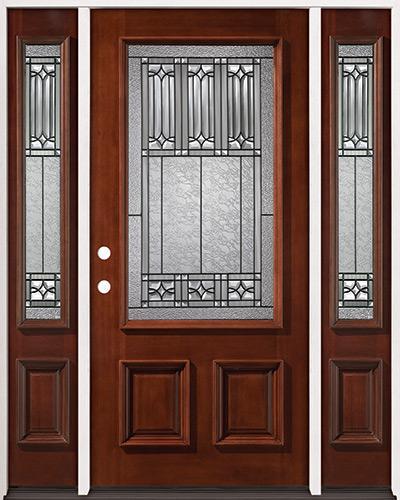 3/4 Lite Mahogany Prehung Wood Door Unit with Sidelites #53