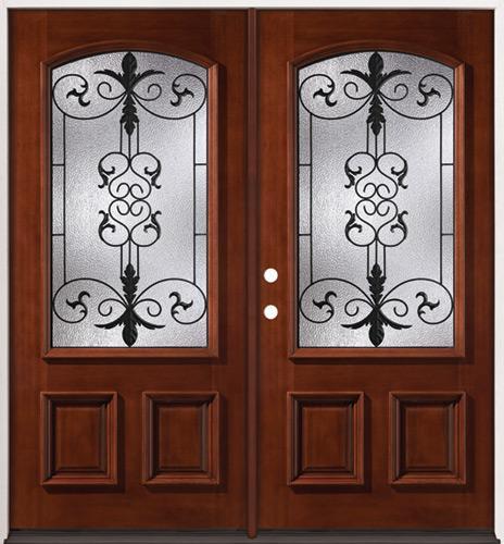 3/4 Arch Mahogany Prehung Double Wood Door Unit #54