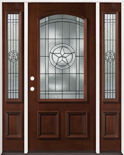 Texas Star 3/4 Arch Mahogany Prehung Wood Door Unit with Sidelites #50