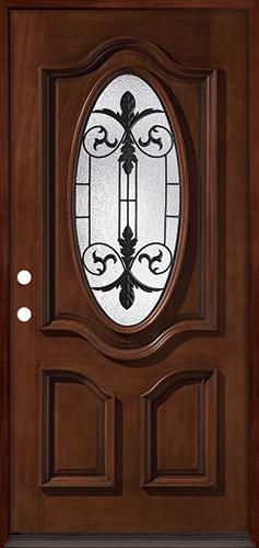 3/4 Oval Mahogany Prehung Wood Door Unit #51