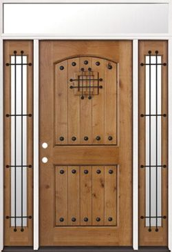 Rustic Knotty Alder Prehung Wood Door Unit with Transom #20