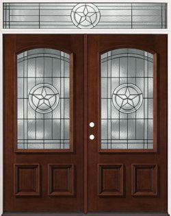 Texas Star 3/4 Arch Mahogany Prehung Wood Double Door Unit with Transom #50