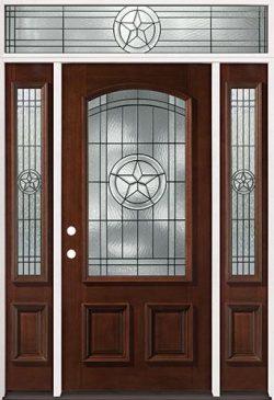 Texas Star 3/4 Arch Mahogany Prehung Wood Door Unit with Transom #50