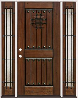 Rustic Mahogany Prehung Wood Door Unit with Sidelites #320