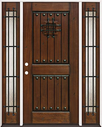 Rustic Mahogany Prehung Wood Door Unit with Sidelites #320