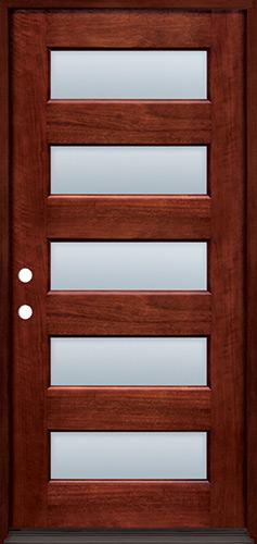 Modern 5-Lite Mahogany Prehung Wood Door Unit #305