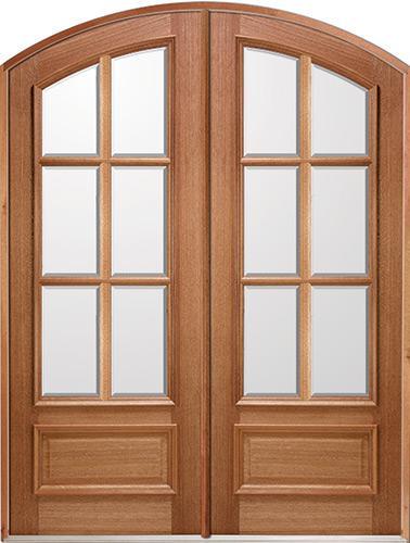 """8'0"""" Tall 6-Lite IG Mahogany Arch Top Prehung Double Wood Door Unit"""