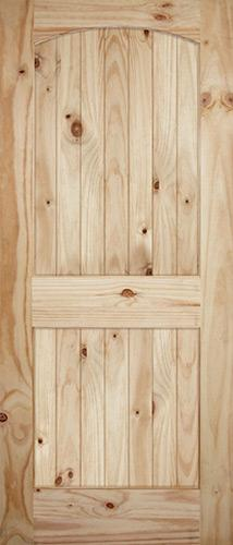 "7'0"" Tall Wide 2-Panel Arch V-Grooved Knotty Pine Barn Door Slab"