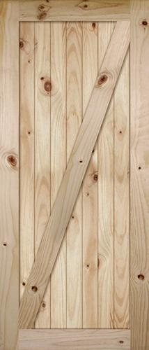 "7'0"" Tall Wide Z-Bar V-Grooved Knotty Pine Barn Door Slab"