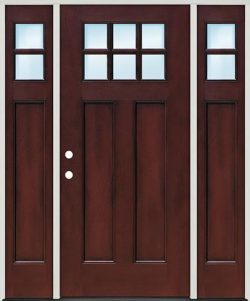 Craftsman 6-Lite Pre-finished Mahogany Fiberglass Prehung Door Unit with Sidelites
