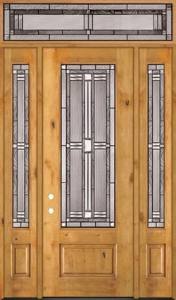 "8'0"" Tall 3/4 Lite Knotty Alder Wood Door Unit with Transom #297"