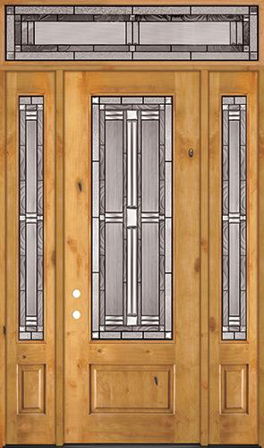 """8'0"""" Tall 3/4 Lite Knotty Alder Wood Door Unit with Transom #297"""