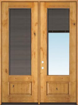 "Slate 8'0"" Tall 3/4 Mini-blind Knotty Alder Wood Double Door Unit"