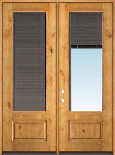 "Slate 8'0"" Tall 3/4 Mini-blind Knotty Alder Wood Double Door Unit"
