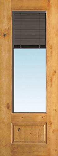 "Slate 8'0"" Tall 3/4 Mini-blind Knotty Alder Wood Door Slab"