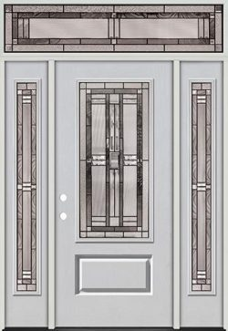 3/4 Lite Fiberglass Prehung Door Unit with Transom #277