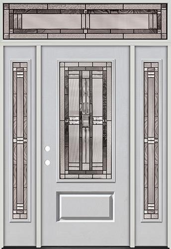 3/4 Lite Fiberglass Prehung Door Unit with Transom #277