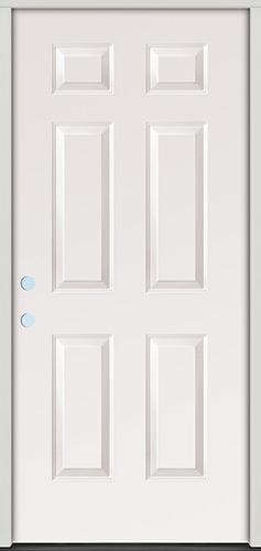 6-Panel Fiberglass Prehung Door Unit