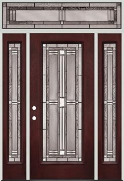 Full Lite Pre-finished Mahogany Fiberglass Prehung Door Unit with Transom #297