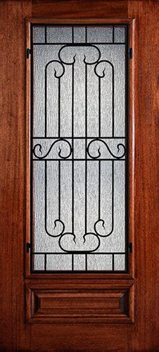 Hamilton 3/4 Lite Grille Mahogany Wood Door Slab #7452