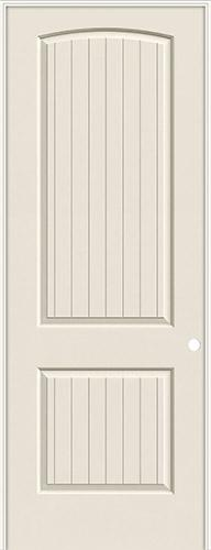 "8'0"" 2-Panel Arch V-Groove Smooth Molded Interior Prehung Door Unit"