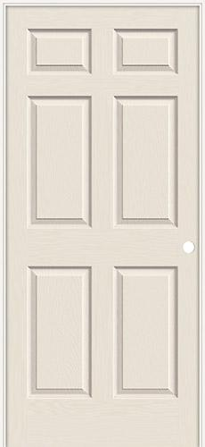 "6'8"" 6-Panel Smooth Molded Interior Prehung Door Unit"